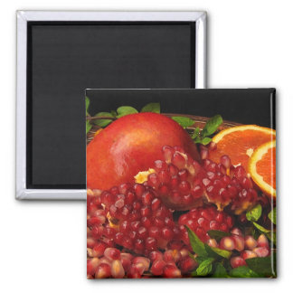 Pomegranate, Orange and Mint Square Magnet