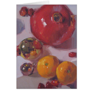 """Pomegranate Orange Christmas"" Blank Holiday Art C Card"