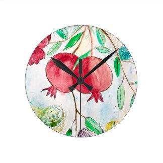 Pomegranate painting pomegranate art Wall art Round Clock