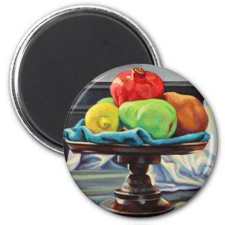 Pomegranate Pear Lemon Pedestal 2 Inch Round Magnet