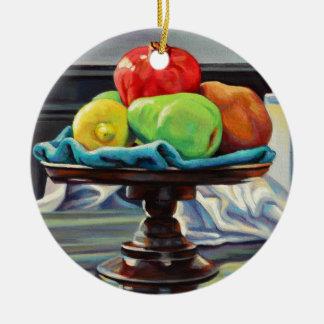 Pomegranate Pear Lemon Pedestal Ceramic Ornament