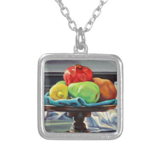 Pomegranate Pear Lemon Pedestal Silver Plated Necklace