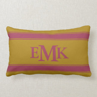 Pomegranate Stripes on Tapestry Gold Monogram Lumbar Pillow