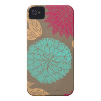 Pomegranate & Teal Floral Print Case-Mate iPhone 4 Cases