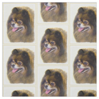 Pomeranian Black and Tan Painting Original Dog Art Fabric