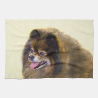 Pomeranian Black and Tan Painting Original Dog Art Kitchen Towel
