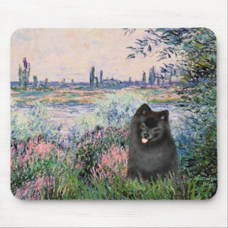 Pomeranian (black) - By the Seine Mouse Pad
