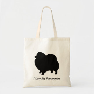 Pomeranian Black Dog Silhouette Tote Bag