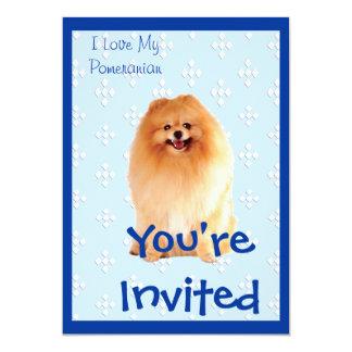 Pomeranian - Blue w/ White Diamond Design Card