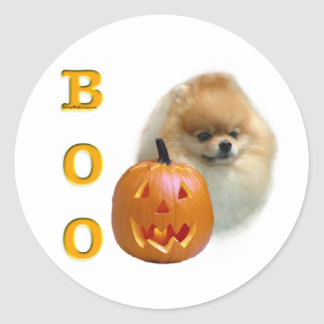 Pomeranian Boo Classic Round Sticker