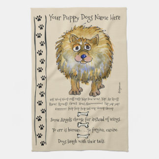 Pomeranian Cartoon Dog Quotes Kitchen Towel