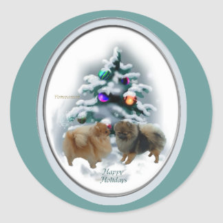 Pomeranian Christmas Gifts Classic Round Sticker