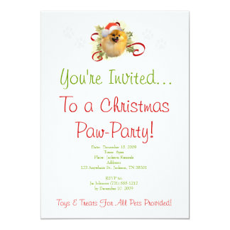 Pomeranian Christmas Invitation