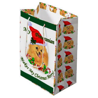 Pomeranian Christmas Medium Gift Bag