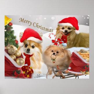 Pomeranian Christmas snow scene Print