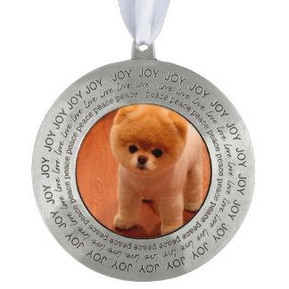 Pomeranian-cute puppies-spitz-pom dog-pom puppies pewter ornament
