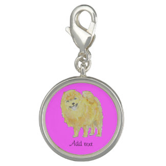 Pomeranian Dog Add name, other words clip on charm