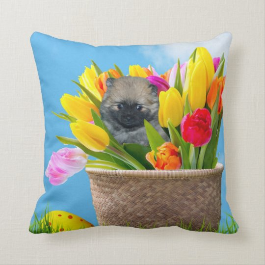 Pomeranian dog Easter throw pillow