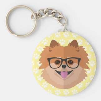 Pomeranian Dog In Nerd Glasses | Cute Hipster Gift Keychain