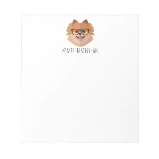 Pomeranian Dog In Nerd Glasses | POMER-BRAINY-AN Notepad