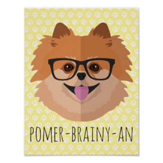 Pomeranian Dog In Nerd Glasses | POMER-BRAINY-AN Poster