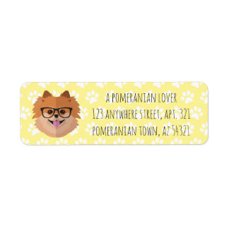 Pomeranian Dog In Nerd Glasses | POMER-BRAINY-AN Return Address Label