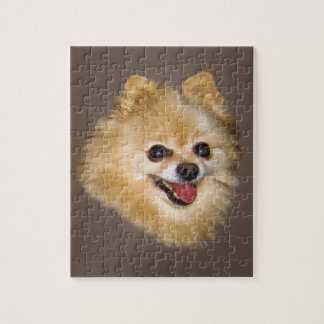 Pomeranian Dog on Brown Puzzle