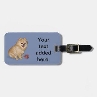 Pomeranian Dog with Ball Luggage Tag