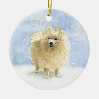 Pomeranian Eskie in the Snow Ceramic Ornament