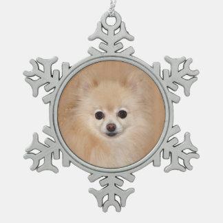 Pomeranian face snowflake pewter christmas ornament