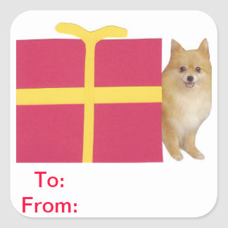 Pomeranian Gift Tags To and From Sticker