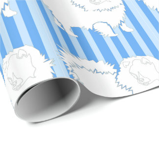 Pomeranian Gift wrapping paper Blue stripes