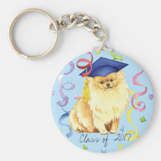 Pomeranian Graduate Keychain