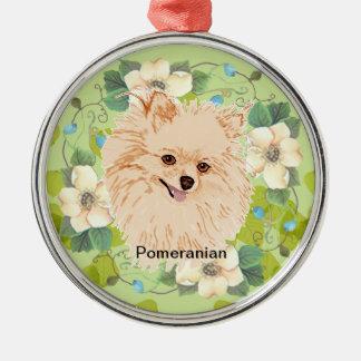 Pomeranian - Green Leaf Design Metal Ornament