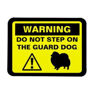 Pomeranian Guard Dog Warning Rectangular Photo Magnet