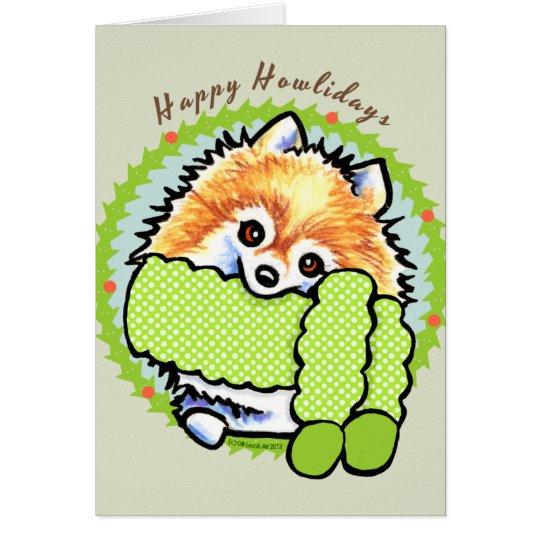 Pomeranian Happy Howlidays Card