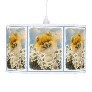 Pomeranian in Daisies Painting - Original Dog Art Pendant Lamp