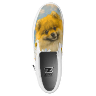 Pomeranian in Daisies Painting - Original Dog Art Slip-On Sneakers