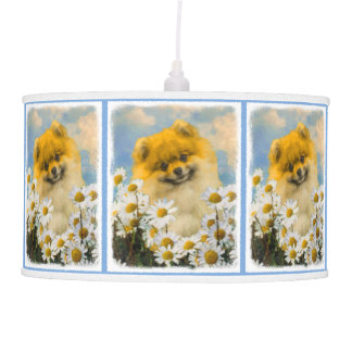 Pomeranian in Daisies Pendant Lamp