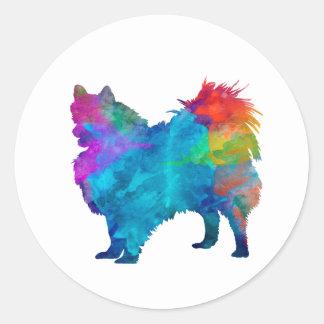 Pomeranian in watercolor classic round sticker
