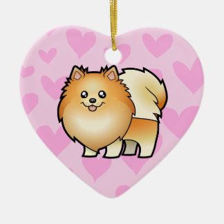 Pomeranian Love (add your own message) Ceramic Ornament