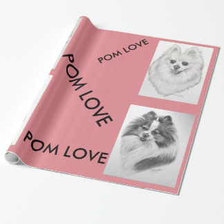 Pomeranian Love wrapping paper original artwork