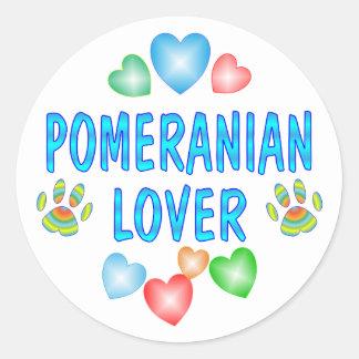 POMERANIAN LOVER CLASSIC ROUND STICKER