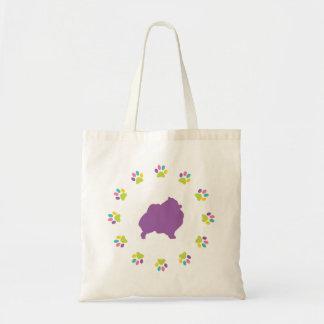 Pomeranian Lover Rainbow Paw Print Tote Bag
