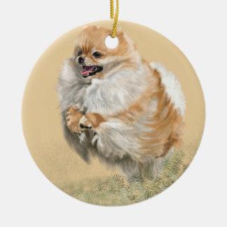 Pomeranian Pup Ceramic Ornament