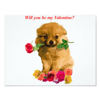 Pomeranian Puppy Be My Valentine Roses Card