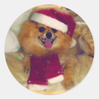 Pomeranian Santa Xmas stickers