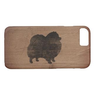 Pomeranian Silhouette Rustic iPhone 8/7 Case