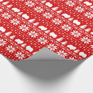 Pomeranian Silhouettes Christmas Sweater Pattern Wrapping Paper