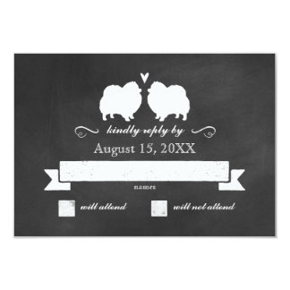 Pomeranian Silhouettes Wedding RSVP Reply Card